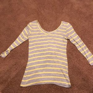 CAbi Grey and Yellow Long Sleeve V Neck